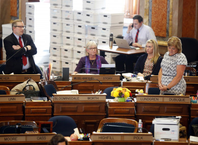 Politicians debate the bill in the Iowa House today
