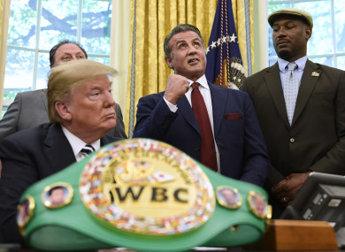 Trump with Stallone and Lennox Lewis.