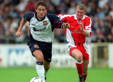 Prenderville, pictured with West Ham's Frank Lampard, during his first spell at St Patrick's Athletic in 2000.