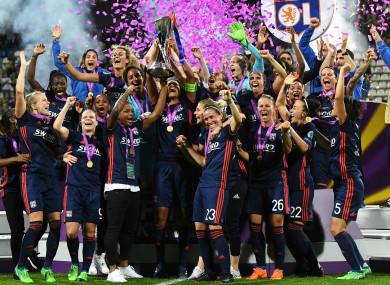 Lyon Women celebrate winning the Champions League