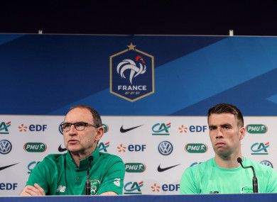 Martin O'Neill and Seamus Coleman speaking to the media today.
