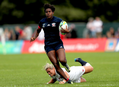 Naya Tapper makes a break against England during last year's World Cup.