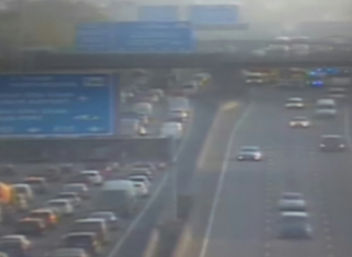 An image of the M50 tweeted by gardaí at about 7.15 am.