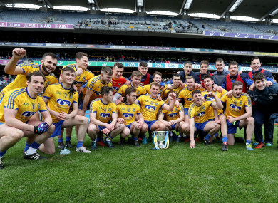 Roscommon players celebrating their Division 2 league final win over Cavan.