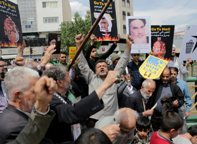 Iranian demonstrators protest against the United States after Friday prayers in Tehran, Iran.