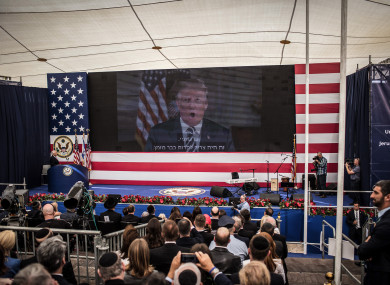A speech of US President Donald Trump is televised during the opening ceremony of the new US embassy in Jerusalem.