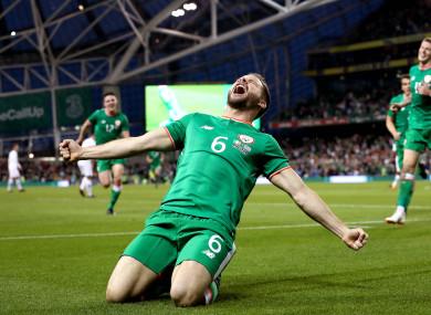 Ireland's Alan Judge celebrates scoring a late goal.
