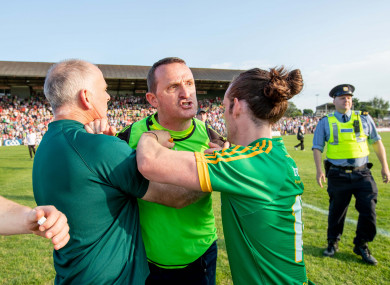 Andy McEntee vents his frustration at the officials at the full time whistle.