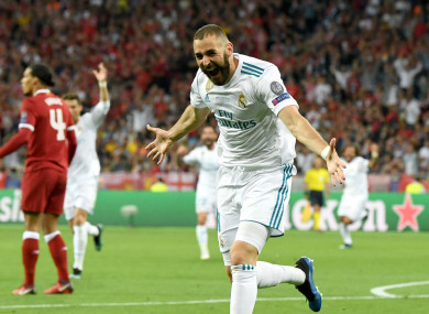 Real Madrid striker Karim Benzema opens the scoring against Liverpool.