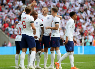 England celebrate Harry Kane's goal against Nigeria.