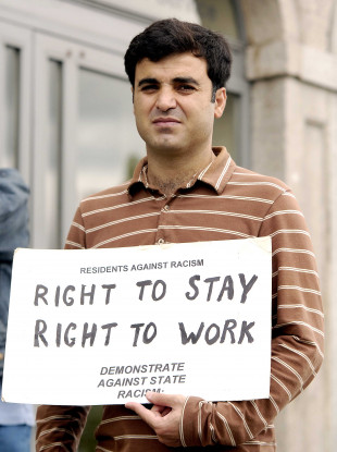 Asylum seeker, Shaho Zamani from Iran, at a protest in Dublin.