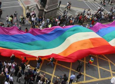 Pride parade through Dublin.