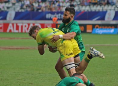 Mark Roche makes a tackle in the Australia game (file pic).