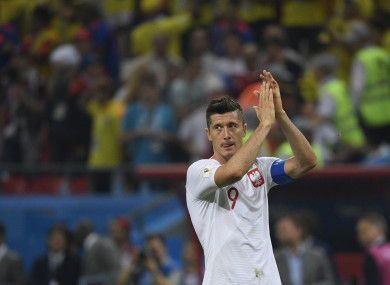 Robert Lewandowski pictured at the World Cup today.