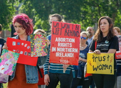 Pro-choice groups and supporters protested in London, UK, on 5 June 2018 to regulate abortion in Northern Ireland.