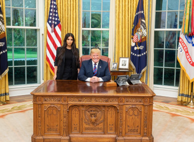 Kim Kardashian following her meeting with US President Donald Trump in the White House.