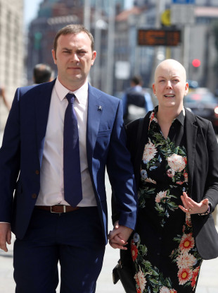Paul and Ruth Morrissey outside court today