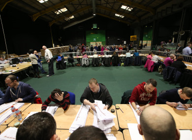 Scenes from the RDS count centre from the last election.