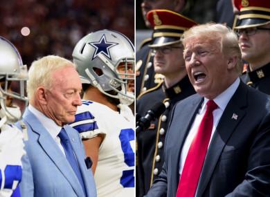 US President Donald Trump has praised Jerry Jones' stance.