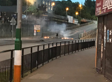 A fire which was started at the bottom of the flyover in the Bogside area of Derry.