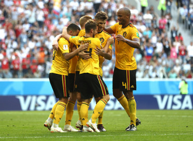 Eden Hazard celebrates with team-mates after doubling his side's lead.
