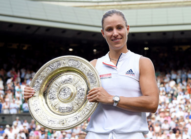 Angelique Kerber poses with The Venus Rosewater Dish on Saturday.