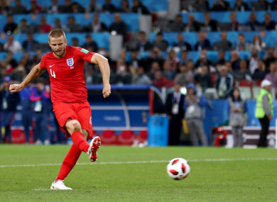 Eric Dier slots home his penalty against Colombia.