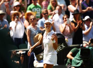 Kerber celebrates victory on Centre Court.