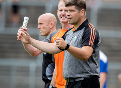 Kerry boss Eamonn Fitzmaurice celebrates their late goal in Clones.