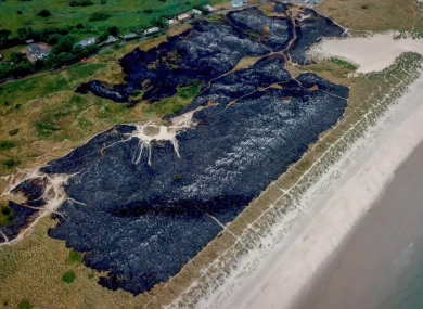 Charred land over Curracloe Beach in Co Wexford following a dune fire earlier this month