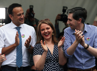 Leo Varadkar, Senator Catherine Noone and Minister for Health Simon Harris at Dublin Castle for the referendum result.