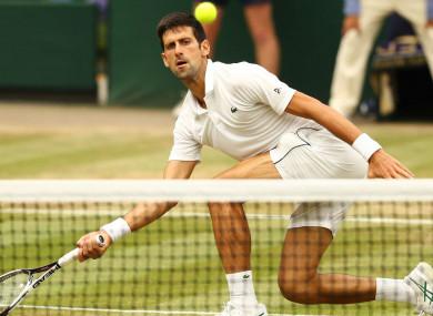 Novak Djokovic volleys at the net during his Wimbledon semi-final.