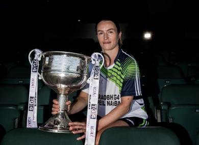 Dublin's Sinead Aherne with the Brendan Martin Cup at today's launch of the 2018 TG4 All-Ireland ladies football championships.
