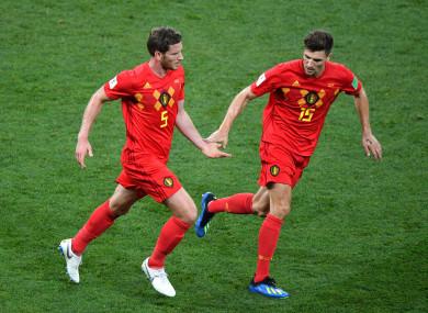 Belgium players celebrate.