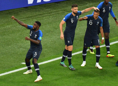 France players celebrate.