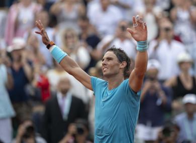 Rafael Nadal celebrates (file pic).