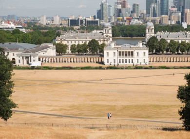 Dry parched yellow grass in Greenwich Park, London.