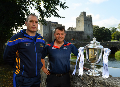 Tipperary boss Liam Cahill and Cork manager Denis Ring at today's Bord Gáis Energy All-Ireland U21 final media day.