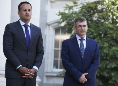 Taoiseach Leo Varadkar pictured with the Drew Harris.