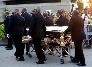 Aretha Franklin's gold casket arrives at the Charles H Wright museum in Detroit