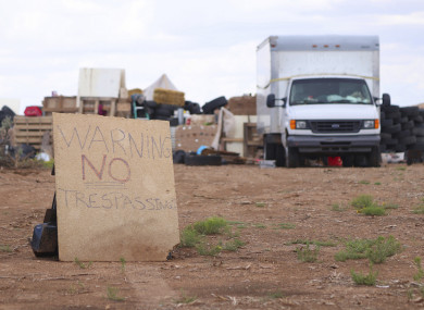 A sign outside the camp.