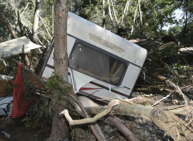 A damaged trailer after floods at a camping site, in southern France.