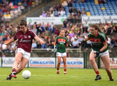 Róisín Leonard of Galway scores her side's third goal.