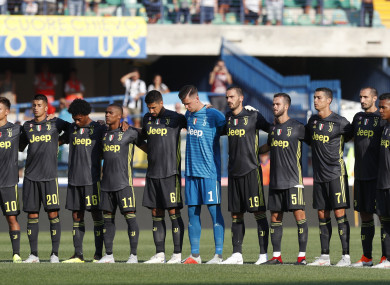 Juventus players observe a minute of silence to honour the victims last week.