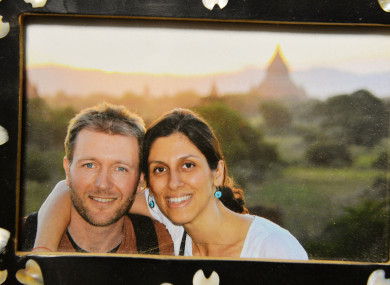 A photo of Richard Ratcliffe and his wife Nazanin Zaghari-Ratcliffe on display at their home in north London.