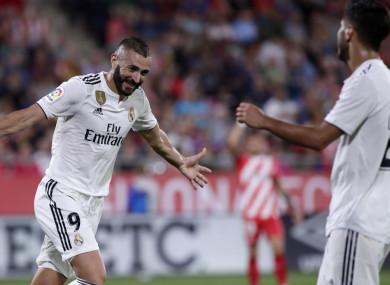 Karim Benzema celebrates scoring for Real Madrid on Sunday.