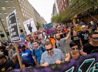 Counter protestors march toward Lafayette Square during the Unite the Right rally in Washington DC