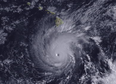 This image from the GOES-15 satellite shows Hurricane Lane, with a well-defined eye, positioned about 300 miles south of Hawaii's Big Island