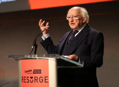 President Michael D Higgins at the Concern conference today.