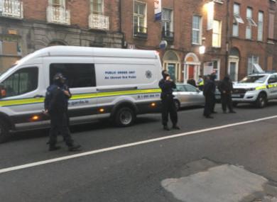 Gardaí at the scene of Frederick Street last week.